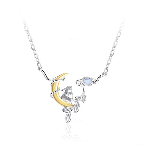 Cute Ladies Sterling Silver Bunny Moonstone Pendant Necklace June Birthstone for Women