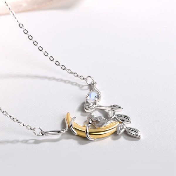 Cute Ladies Sterling Silver Bunny Moonstone Pendant Necklace June Birthstone