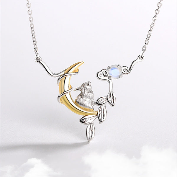 Cute Ladies Sterling Silver Bunny Moonstone Pendant Necklace