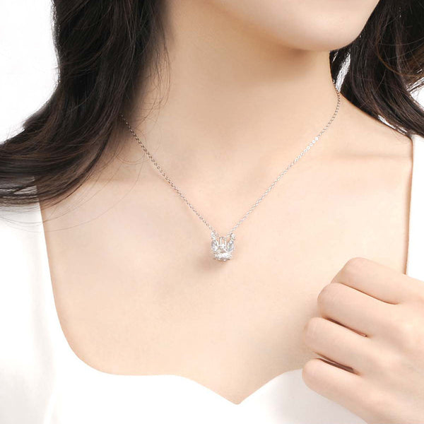 Cute Ladies Sterling Silver Moonstone Topaz Crown Pendant Necklace for Women