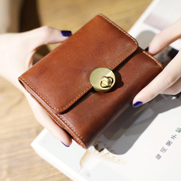 Cute Leather Womens Small Wallet Purse Handmade Clutch for Women Accessories