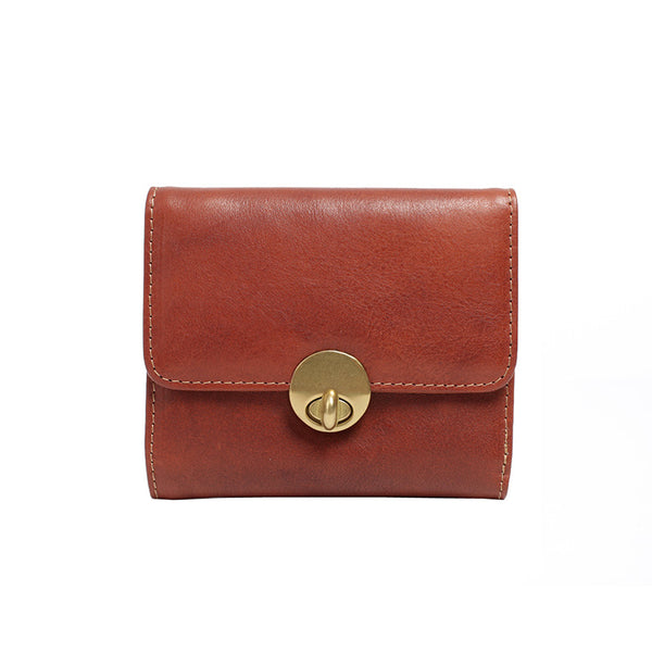 Cute Leather Womens Small Wallet Purse Handmade Clutch for Women Brown