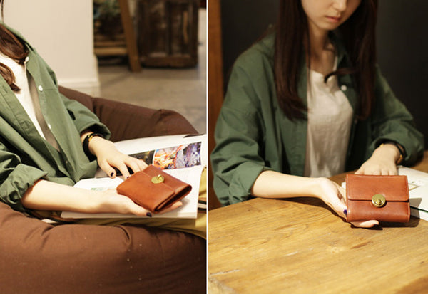 Cute Leather Womens Small Wallet Purse Handmade Clutch for Women Genuine Leather