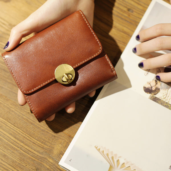Cute Leather Womens Small Wallet Purse Handmade Clutch for Women beautiful
