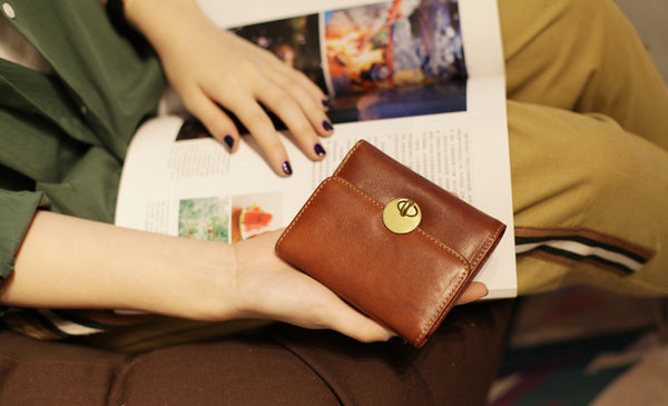 Cute Leather Womens Small Wallet Purse Handmade Clutch for Women fashion