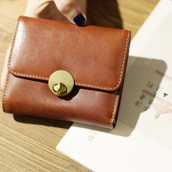 Cute Leather Womens Small Wallet Purse Handmade Clutch for Women
