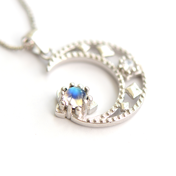 Cute Moonstone Pendant Necklace in White Gold Plated Sterling Silver Jewelry Women