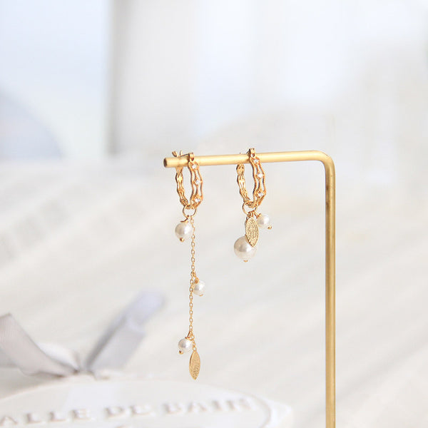 Cute Pearls Earrings Gold Plated Silver Hoop Earrings for Women