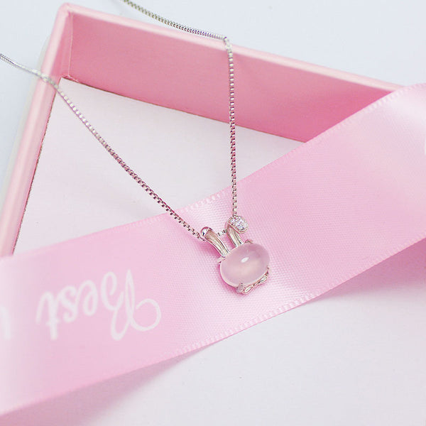 Cute Rose Quartz Pendant Necklace Sterling Silver Jewelry Accessories Gift Women charming