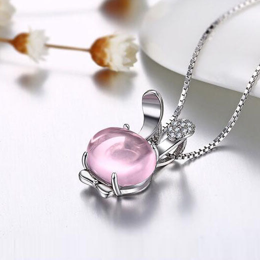 Cute Rose Quartz Pendant Necklace Sterling Silver Jewelry Accessories Gift Women chic
