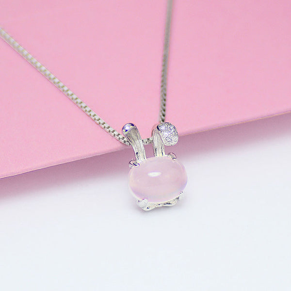 Cute Rose Quartz Pendant Necklace Sterling Silver Jewelry Accessories Gift Women