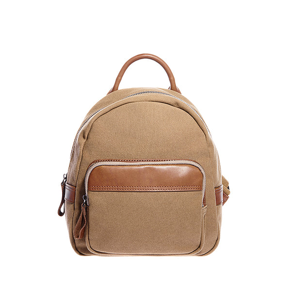 Cute Small Canvas and Brown Leather Rucksack Backpack Purse for Women Accessories