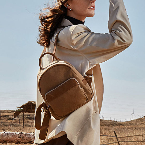 Cute Small Canvas and Brown Leather Rucksack Backpack Purse for Women Brown