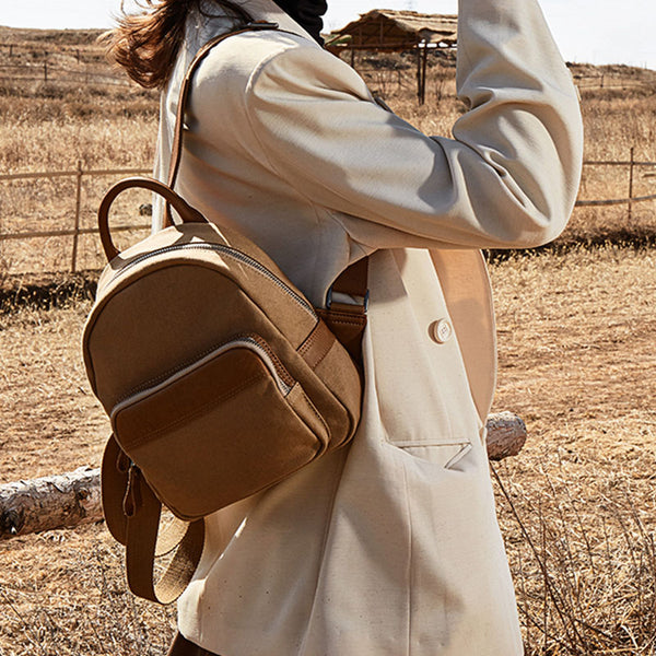 Cute Small Canvas and Brown Leather Rucksack Backpack Purse for Women Cool