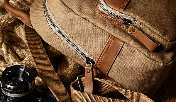 Cute Small Canvas and Brown Leather Rucksack Backpack Purse for Women Durable
