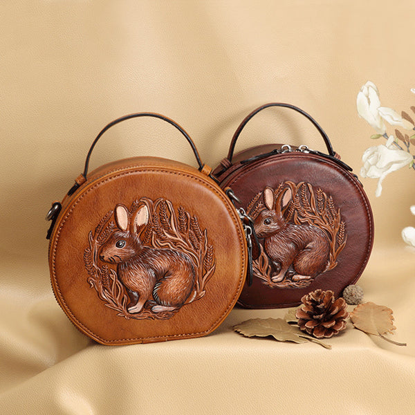 Cute Women's Embossed Genuine Leather Circle Crossbody Bag Handbags For Women Accessories