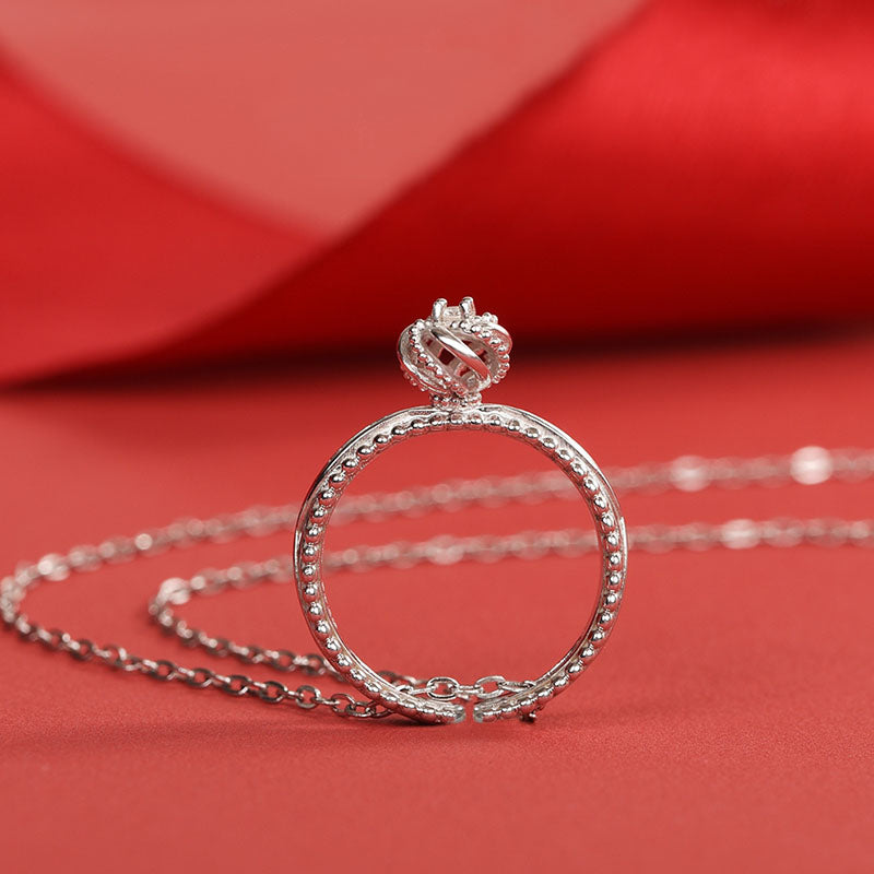 Cute Women's Fashion Diamond Rings Unique Moonstone Ring Pandant Necklace for Women Accessories