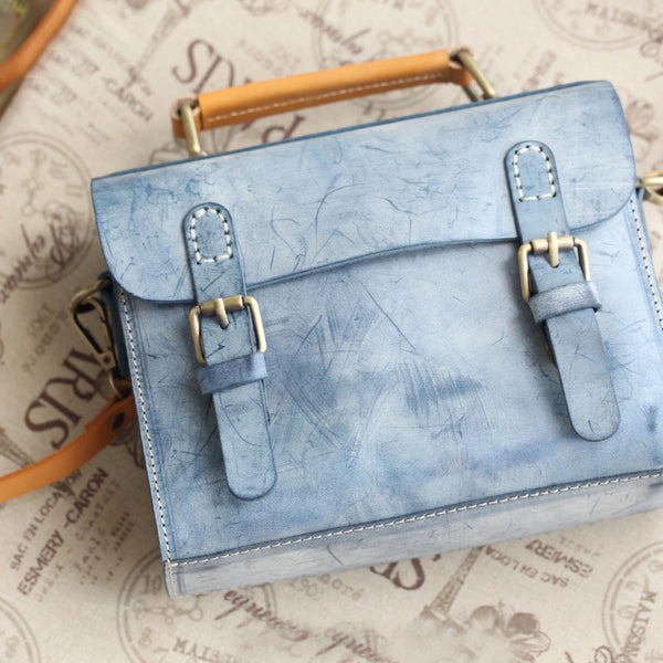 Cute-Women's-Waxed-Leather-Crossbody-Satchel-Purse-Messenger-Bag-For-Women-Gift
