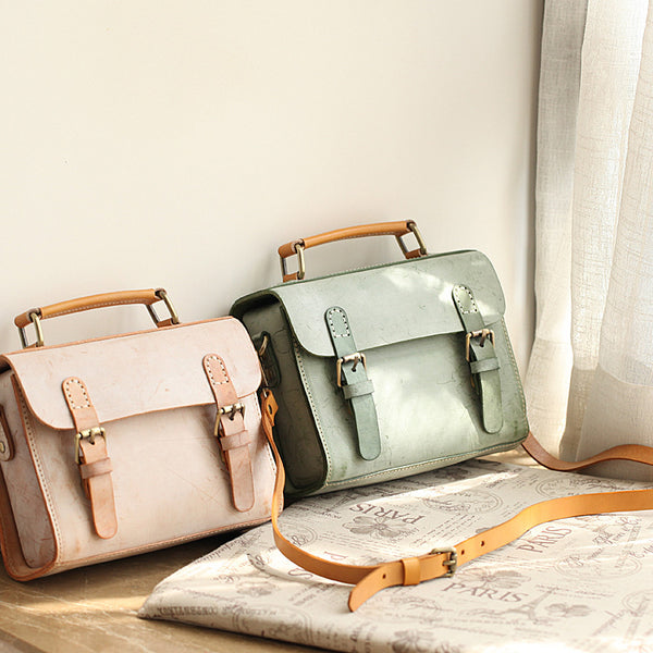 Cute-Women's-Waxed-Leather-Crossbody-Satchel-Purse-Messenger-Bag-For-Women-Small
