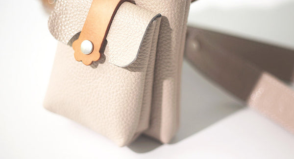 Cute Womens Beige Leather Phone Bag Mini Crossbody Bags Purse for Women Details