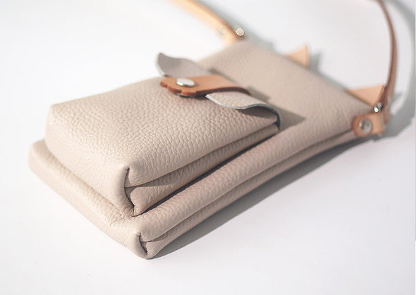 Cute Womens Beige Leather Phone Bag Mini Crossbody Bags Purse for Women Genuine Leather