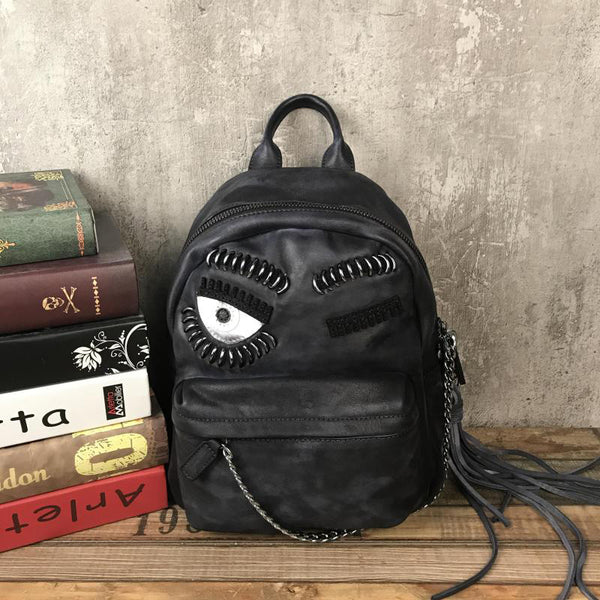 Cute Womens Small Genuine Leather Backpack Purse Trendy Backpacks for Women Black