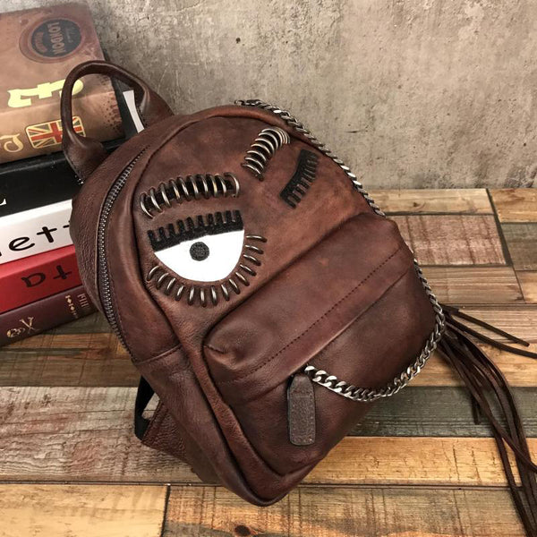 Cute Womens Small Genuine Leather Backpack Purse Trendy Backpacks for Women Brown