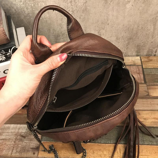 Cute Womens Small Genuine Leather Backpack Purse Trendy Backpacks for Women Chic