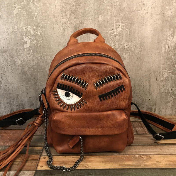 Cute Womens Small Genuine Leather Backpack Purse Trendy Backpacks for Women Cool