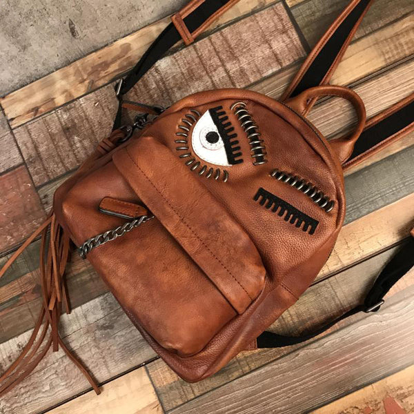 Cute Womens Small Genuine Leather Backpack Purse Trendy Backpacks for Women Cowhide
