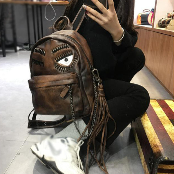 Cute Womens Small Genuine Leather Backpack Purse Trendy Backpacks for Women Handmade