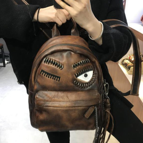 Cute Womens Small Genuine Leather Backpack Purse Trendy Backpacks for Women Inside