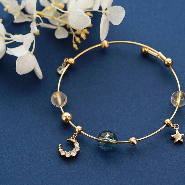 Cute Zircon Crystal Bead Bracelet Gold Silver Jewelry Women beautiful