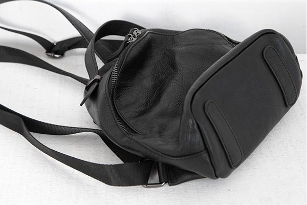 Designer Black Leather Womens Mini Backpack Purse Cute Backpacks for Women Handmade