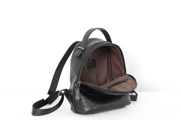 Designer Black Leather Womens Mini Backpack Purse Cute Backpacks for Women Minimalist
