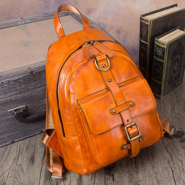 Designer Brown Leather Womens Small Backpack Bag Purse Awesome Backpacks for Women Details