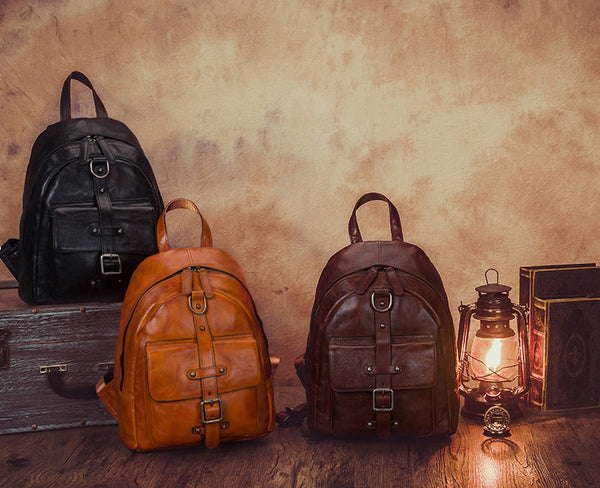 Designer Brown Leather Womens Small Backpack Bag Purse Awesome Backpacks for Women Handmade