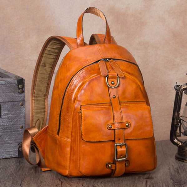 Designer Brown Leather Womens Small Backpack Bag Purse Awesome Backpacks for Women