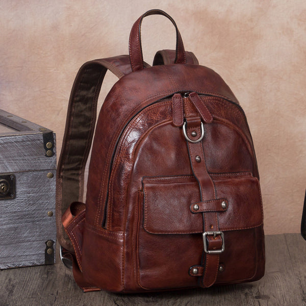 Designer Brown Leather Womens Small Backpack Bag Purse Awesome Backpacks