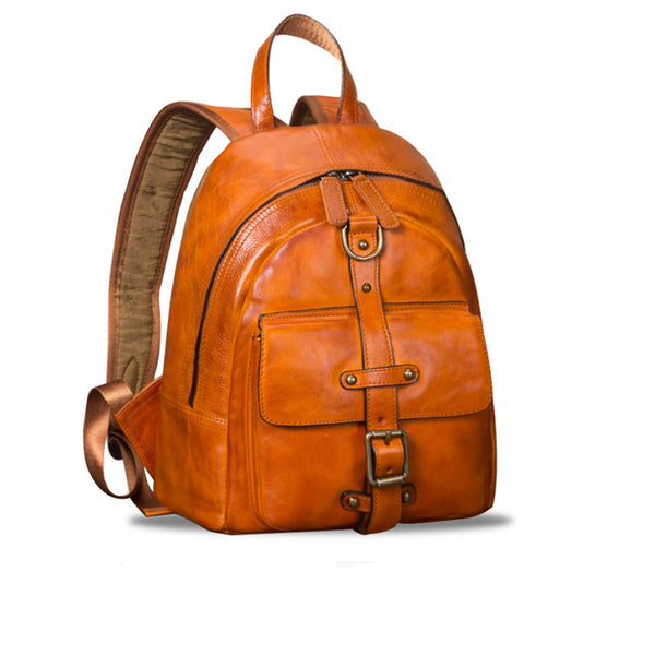 Designer Brown Leather Womens Small Backpack Bag