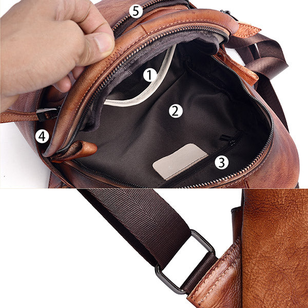 Designer Ladies Small Brown Leather Backpack Purse Bag Backpacks for Women Details