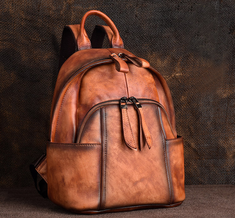 Designer Ladies Small Brown Leather Backpack Purse Bag Backpacks for Women funky