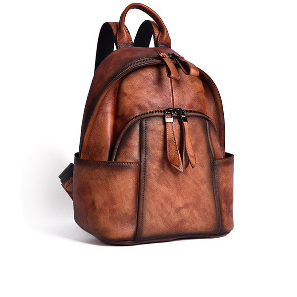 Designer Ladies Small Brown Leather Backpack Purse Bag
