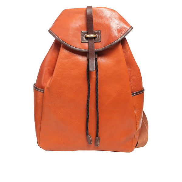 Designer Womens Brown Leather Backpack Purse