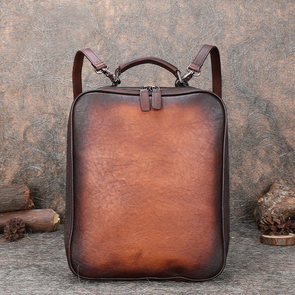 Designer Womens Brown Leather Laptop Backpack Purse Cool Backpacks