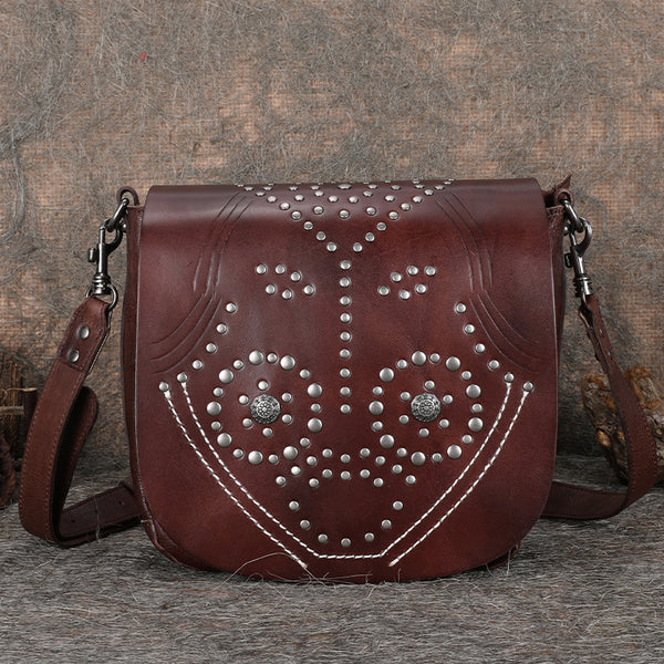 Designer Womens Leather Crossbody Saddle Bag Satchel Bag