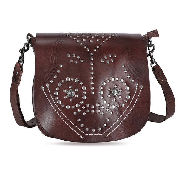 Designer Womens Leather Crossbody Saddle Bag
