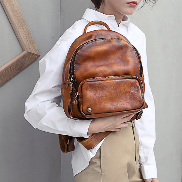 Designer womens small brown leather backpack Bag purse backpacks for women Chic