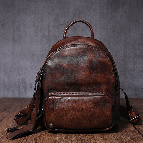 Designer womens small brown leather backpack Bag purse backpacks for women Details