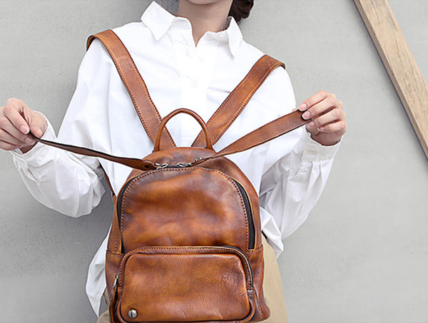 Designer womens small brown leather backpack Bag purse backpacks for women Handmade